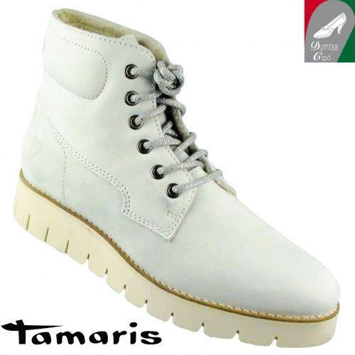 Tamaris női bőr bokacipő 1-26274-35 109 törtfehér