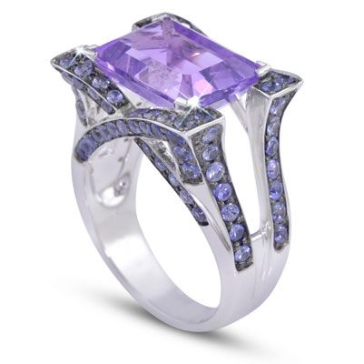 "Moi Moi Fine Jewellery - SUZETTE A   ""Suzette A"" Ring Split Band, corner set 12mm x 10mm Amethyst, 6.09ct 96 x Blue Sapphires, 2.67tcw"