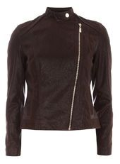 Textured Faux Leather Biker Jacket
