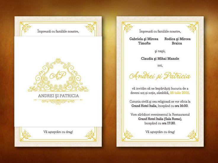 """Wedding invitations ideas/Idei invitatii de nunta originale. Invitaţie """"Gold"""" format A6 (10.5x15 cm). Nu necesită plic."""