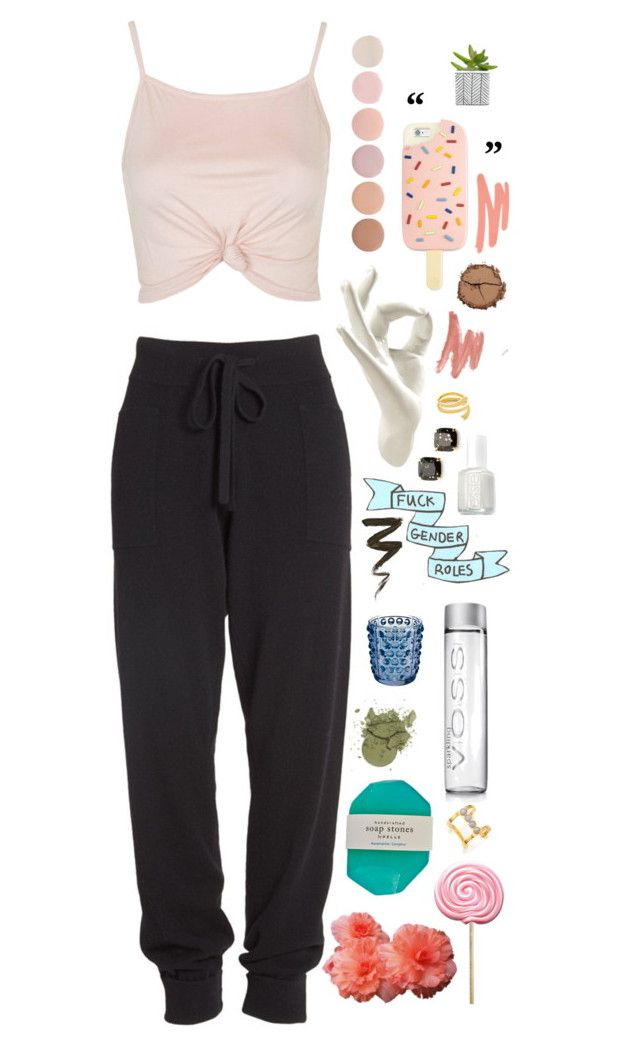 """""""an outfit"""" by stellarosee ❤ liked on Polyvore featuring Topshop, Donna Karan, Thelermont Hupton, Deborah Lippmann, Tory Burch, Essie, Lalique, Kate Spade, Lizzie Fortunato and NARS Cosmetics"""