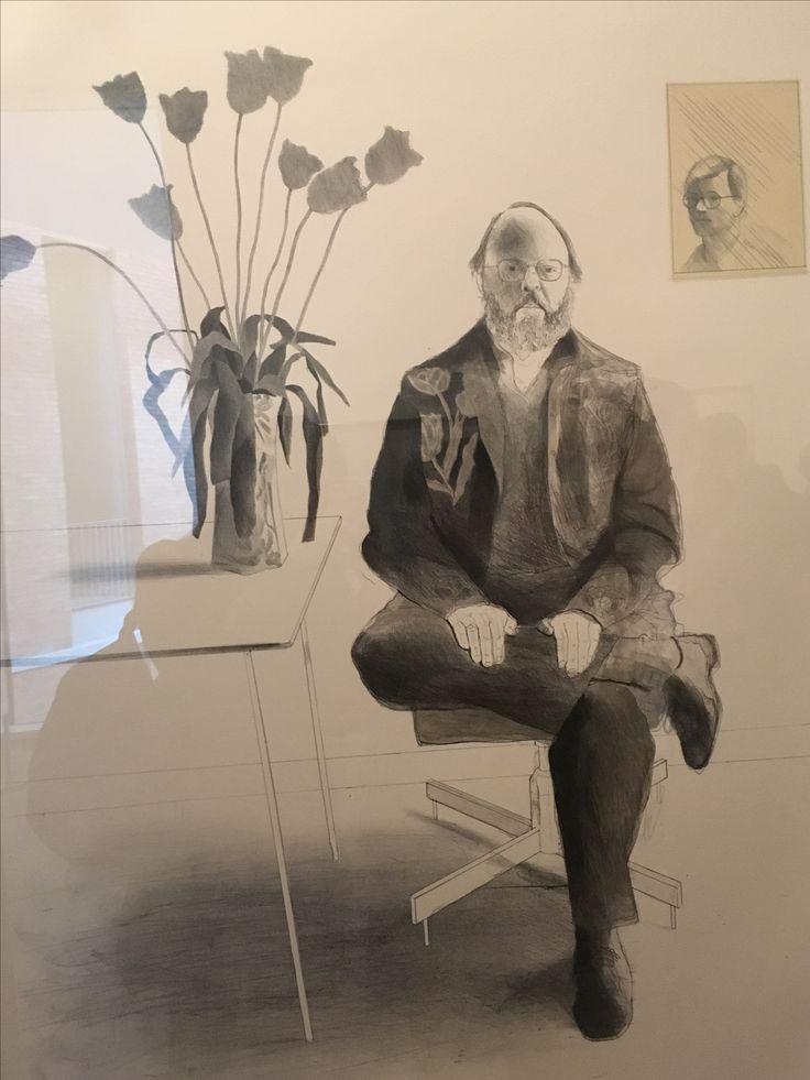 Pencil portrait drawing by David Hockney