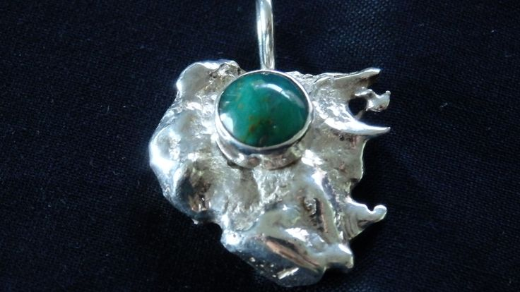 FREEFORM Sterling Silver pendant with small ruby in zoisite cabochon.