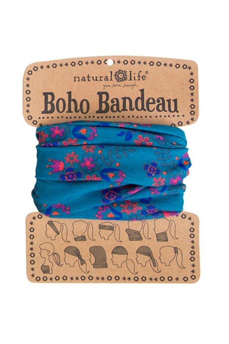100% polyester. 18.5 L x 9.5 W 10 different ways to wear Boho bandeaus! Card comes printed with 10 different ways to wear bandeaus. Turquoise Blooms Bandeau by Natural Life. Accessories - Hair Accessories Roanoke Virginia