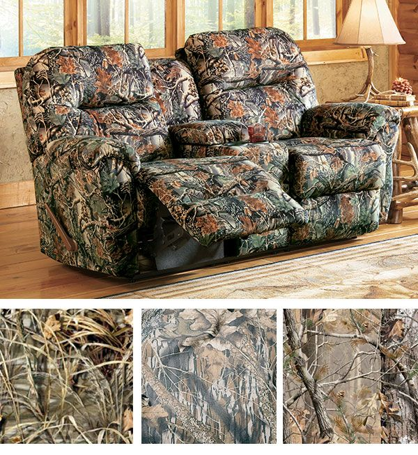 Cozy up in this camo loveseat for two.