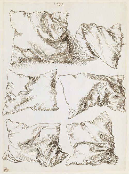 Albrecht Dürer, six pillows (verso), pen and brown ink, 1493. The Metropolitan Museum of Art.