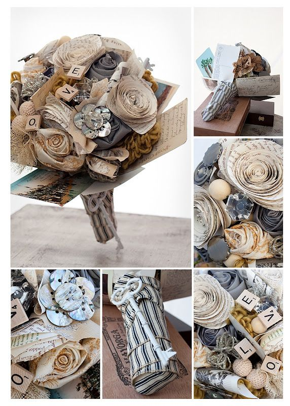 If I were to get married today... this is the bouquet I would do! Paper roses made from pages of a Christmas Carol (the show we were doing when we first met), buttons from family members, old letters from grandparents. *sigh JM