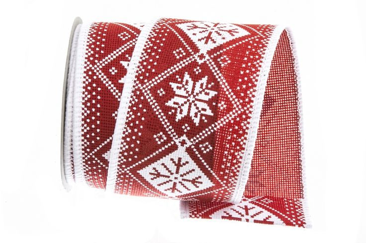 "Item 16261: 2.5"" Red and White Ribbon With Snowflakes. This is one of 1200+ ribbons that will be available for this Christmas season!  Take a look at our ribbon catalog here: http://www.ren2k.com/flipbook.aspx?id=12#/0  (password: floral)"