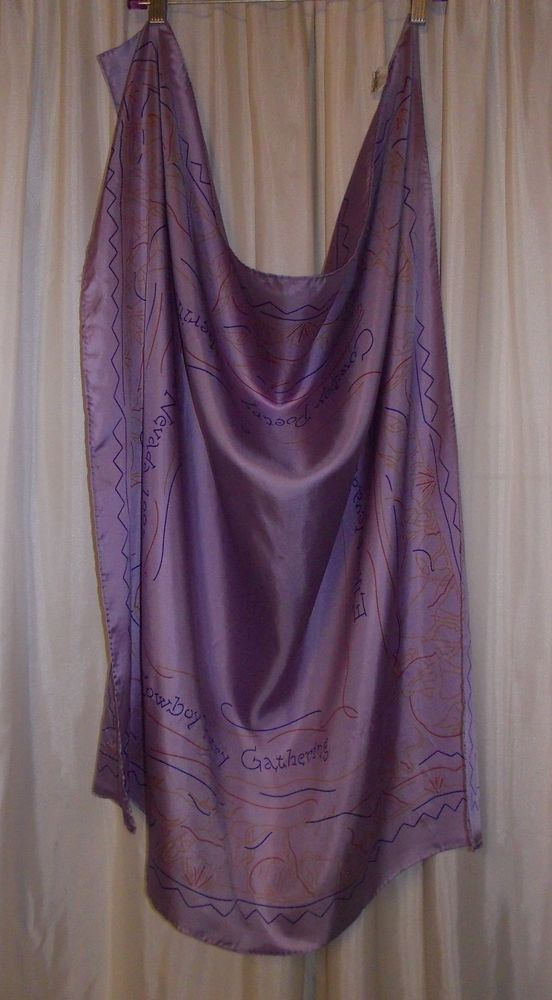 """100% Silk Cowboy Poetry Gathering 1993 scarf FLAW used 34X35"""" purple Cattle Kate #CattleKate #Scarf #Event"""