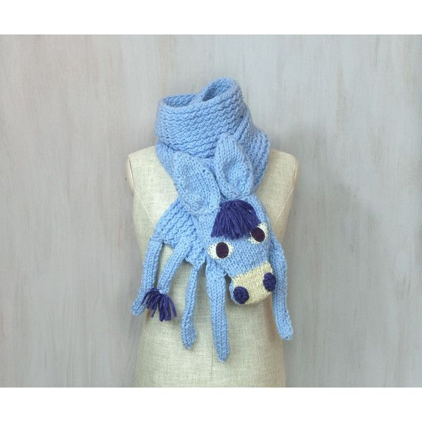 Blue donkey, animal scarf, original scarf, winter accessory, warm... (245 PLN) ❤ liked on Polyvore featuring accessories and scarves