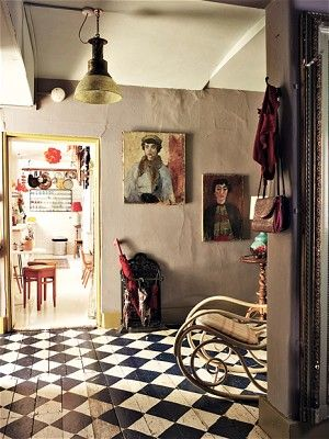 characterful and colourfulDecor, Painted Wood, Checkered Floors, Black And White, Interiors, Painting Wood Floors, Black White, Painting Floors, Painted Floors