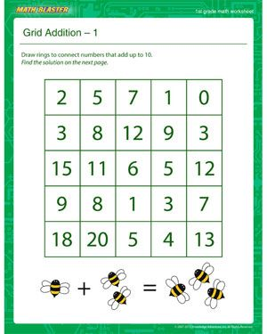grid addition 1 printable math worksheet for 1st grade kmp 001 pinterest math. Black Bedroom Furniture Sets. Home Design Ideas
