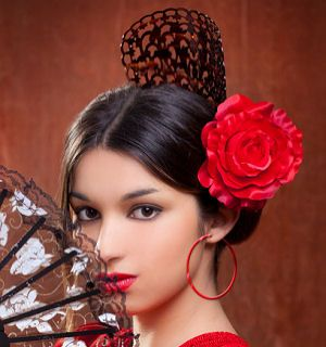 Spanish Peinetas are decorative hair combs sometimes worn under a mantilla, or lace veil. The Peineta is also an important element worn by Flamenco dancers by inserting the teeth of the peineta into their hair bun.  The origin of the peineta goes back to the 19th century in Spain.