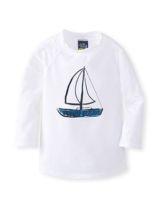 37% OFF Charlie Rocket Boy's Sailboat Rashguard (White)