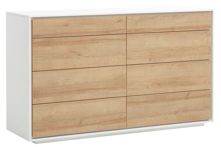 AGERFELD скрин 4+4 чекмеджета, дъб/бял   JYSK