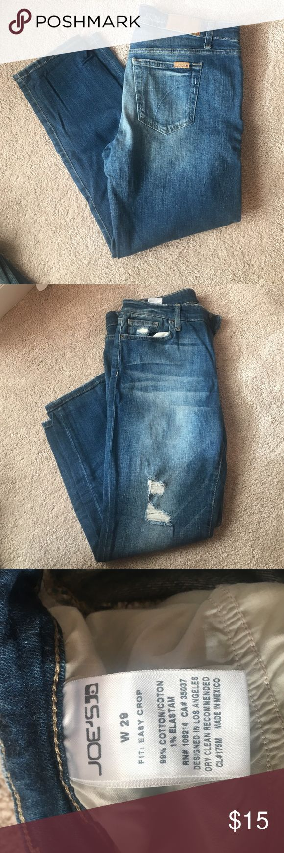 Women's Cropped Jeans Cropped Blue Jeans, Distressed Front, Size W29, Fit: Easy Crop, Great Condition Joe's Jeans Jeans Ankle & Cropped
