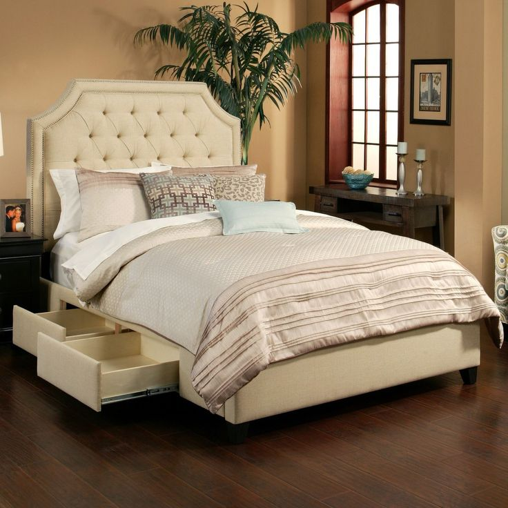 Audrey fabric upholstered storage bed in wheat platform for Upholstered platform bed with drawers