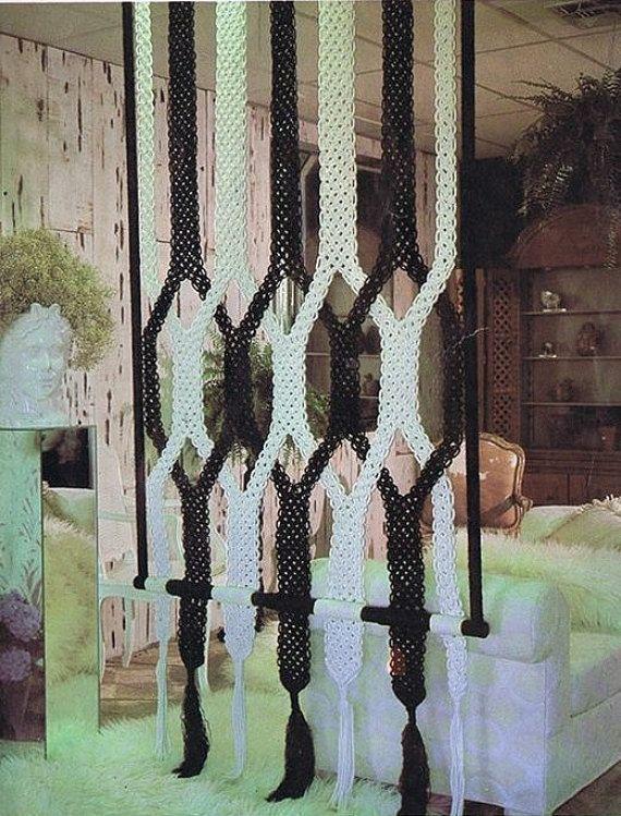 Vintage Macrame Pattern 70s Macrame WALL DIVIDER   ♥´¨) ¸.•´ ¸.•*´¨)¸.•*¨) (¸.•´…