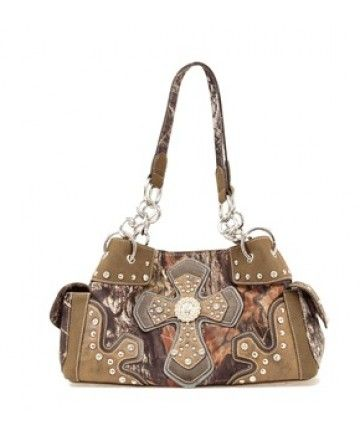 Mossy Oak Camo Satchel Purse With Cross And Concho