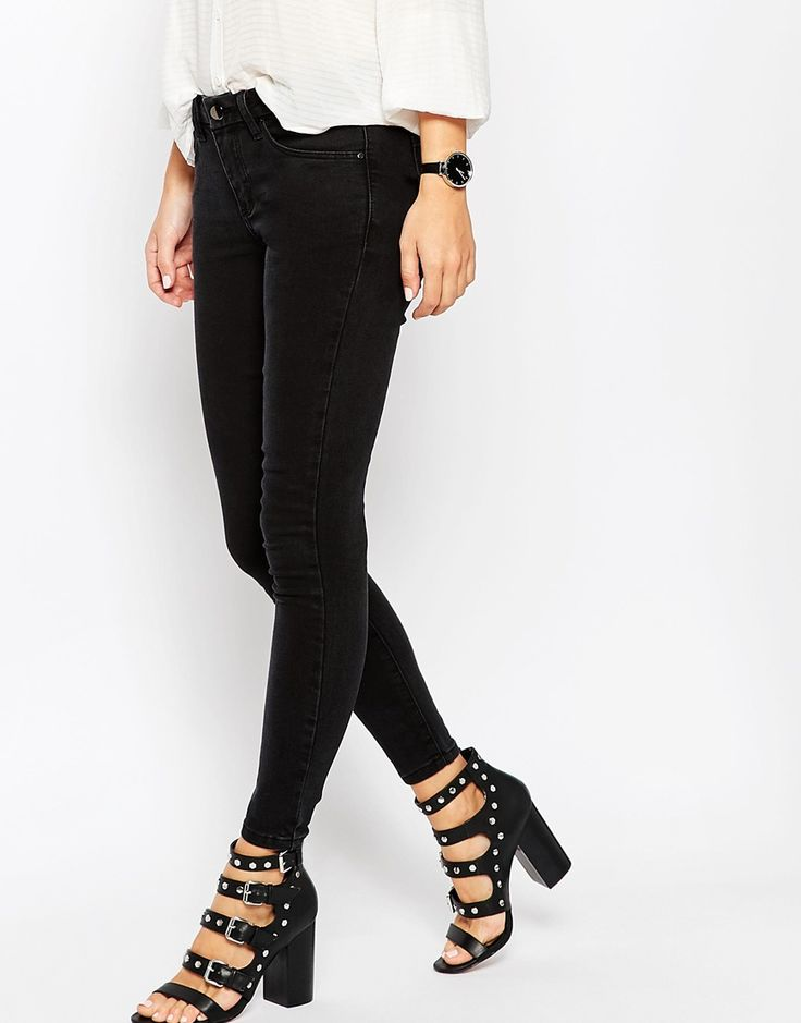 ASOS 'Sculpt Me' Premium Ankle Grazer Jeans In Washed Black