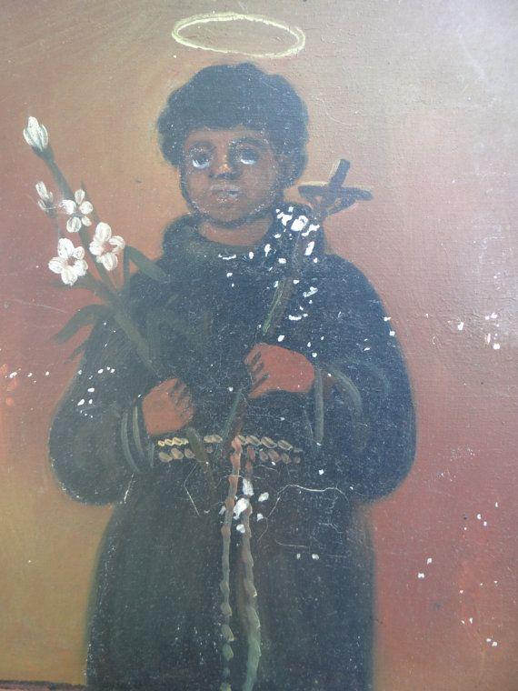 Vintage Retablo San Benito de Palermo, Mexican Votive Painting on Tin on Etsy, $49.00