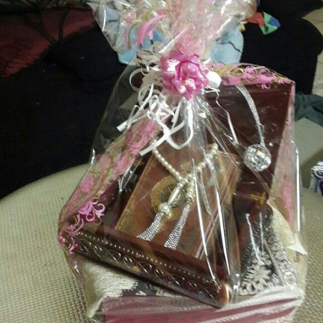 Quran parcel include QURAN, TASBEEH, QURAN MARK, MUSALLAH AND STRONG WOODEN BOX