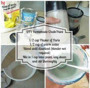 Zelfgemaakte Krijtverf :OPTIE 1: 3 delen verf op 1 deel puur cement (mortel zonder zand) beetje aanlengen met wat water. OPTIE 2: 3 delen verf op 1 deel gips. Meng eerst de gips met een beetje water (let op niet te veel!!) daarna voeg je de verf (uiteraard op waterbasis) toe.Zo maak je eenvoudig zelf je eigen krijtverf in elke kleur die je wil!
