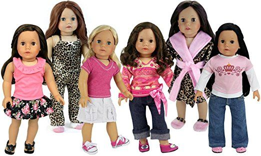 6 Doll Outfits by Sophia's Includes Accessories 17 Pieces | Summer into Fall Clothing for 18 Inch Dolls