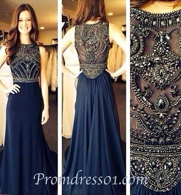 Prom dresses long, ball gown, cute beaded dark blue chiffon prom dress for teens…