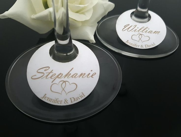 10 x Wine Stem Glass Place Cards Hearts