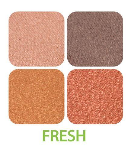 ZUII Organic - Poczwórna paleta cieni do powiek - Fresh [Karmelowe]. Zostały wyprodukowane na bazie  certyfikowanych organicznych sproszkowanych płatków z róży, rumianku i jaśminu oraz wzbogacone naturalnymi witaminami.