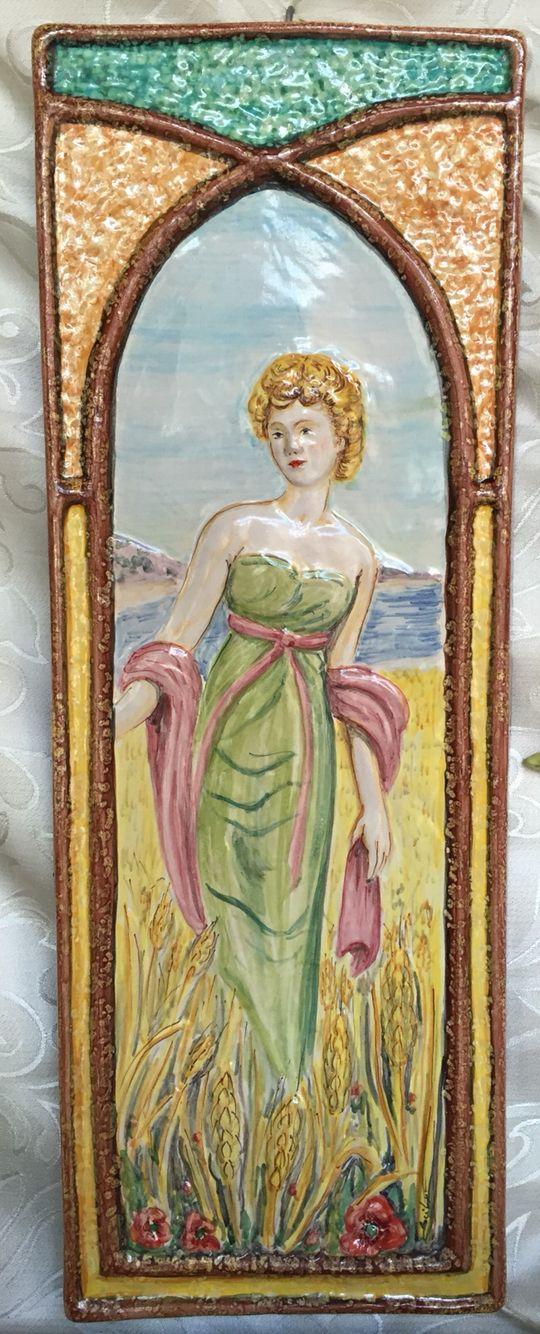 """""""Estate"""" pannello in ceramica realizzato a mano, ispirato alle opere di Alfons Mucha"""