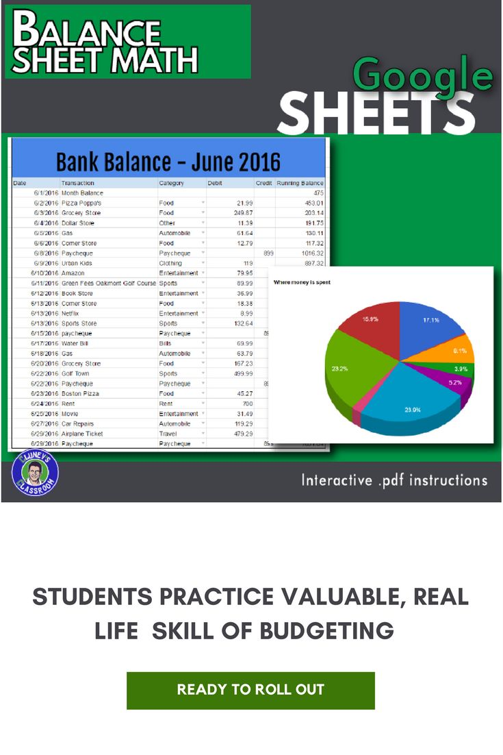 Students learn a practical, real life skill in this lesson. They discover how to create a balance sheet similar to what you would see in a bank statement. Fictional debit and credit transactions are typed in and students create a custom math function to calculate a running bank balance. This lesson also explores some data validation techniques to make data entry more accurate.