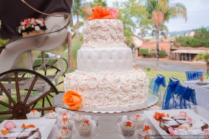 Pastel de bodasen boda al aire libre  Bodas.com.mx  Fernando León Photography  #wedding #weddingcake #bodas