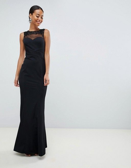 fbdd8db8e5 Little Mistress Tall | Little Mistress Tall embellished neck pleated maxi  dress in black