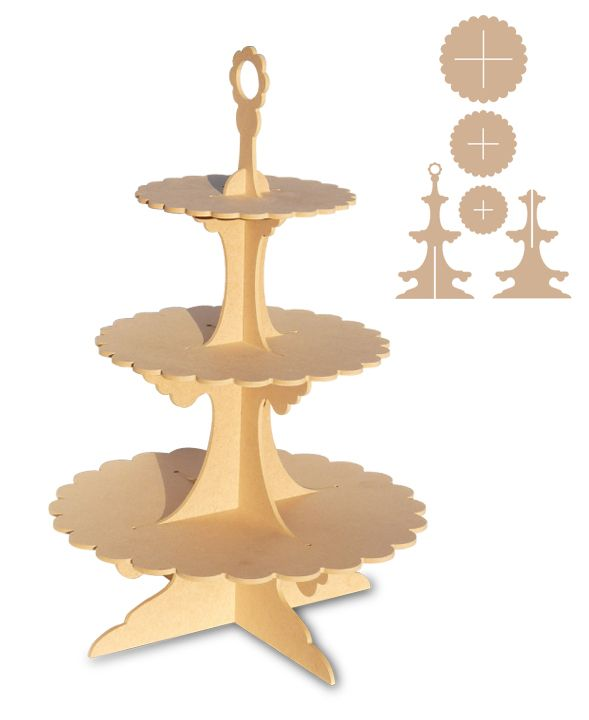 Card Cake Stand Net Template