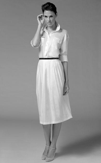 Oversize shirt 3/4 pleat skirt