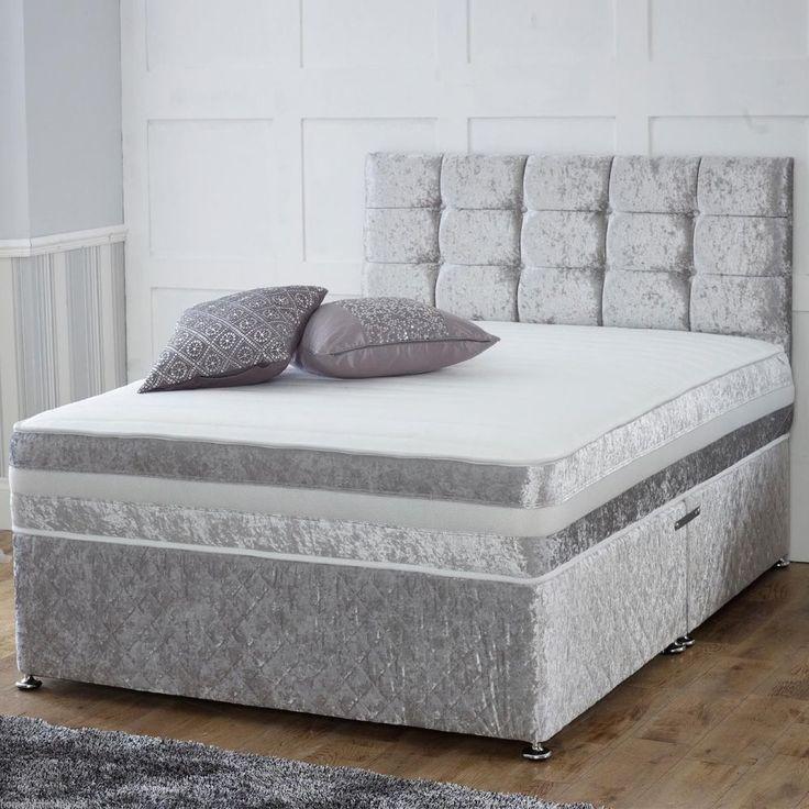 £219 4 draw double CRUSHED VELVET DIVAN BED + MEMORY MATTRESS + HEADBOARD 3FT 4FT 4FT6 Double 5FT in Home, Furniture & DIY, Furniture, Beds & Mattresses   eBay
