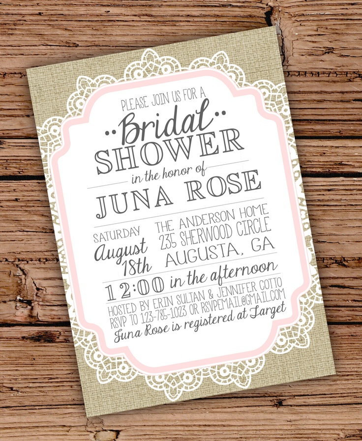 burlap and lace vintage bridal showerbaby shower invitation
