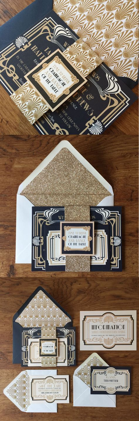 Art Deco Navy wedding invitations. These pretty navy and gold 1920s wedding invitations would be perfect for a great Gatsby inspired wedding. Includes Invite, Save the Date, RSVP, Belly Band and Envelopes with matching inserts.