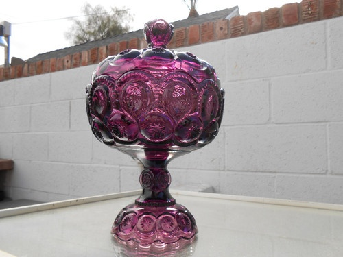 Beautiful L E Smith Vintage Amethyst Quot Moon Amp Star Quot Candy