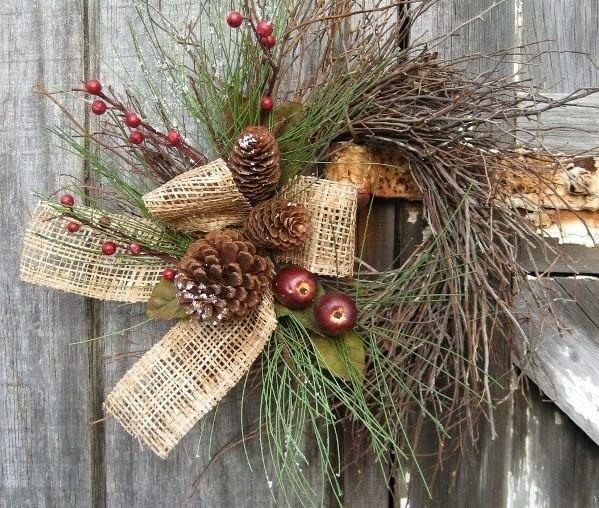 Zweigen Leinen Band Schleife Zapfen Kranz Gartentor festlich dekorieren