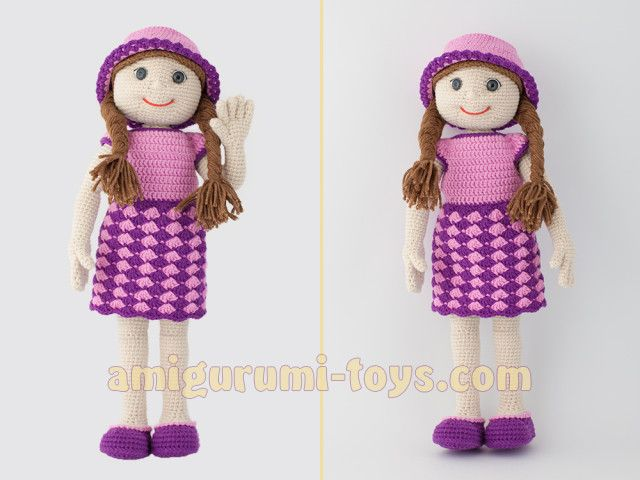 Вязаная кукла Настя. Авторская схема вязания.