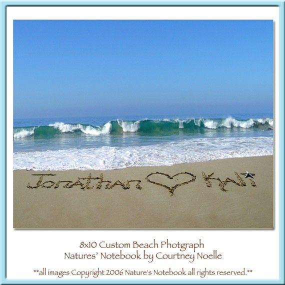 Last Minute Wedding gift names or message written  In REAL Sand Real Beach U print free shipping