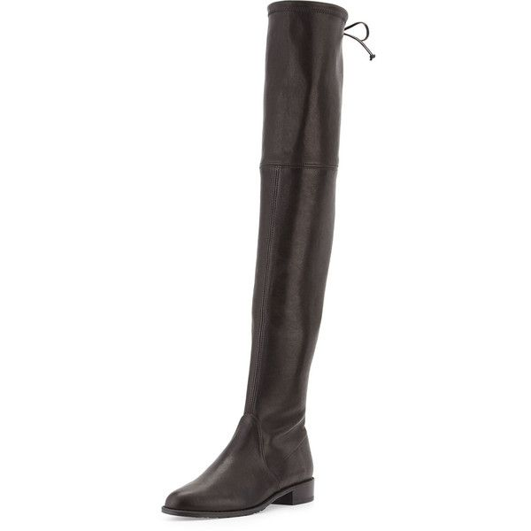 Stuart Weitzman Build Your Own Highland or Lowland Over-the-Knee Boot ($915) ❤ liked on Polyvore featuring shoes, boots, black, over the knee leather boots, leather boots, pull on leather boots, thigh high leather boots and slip on boots