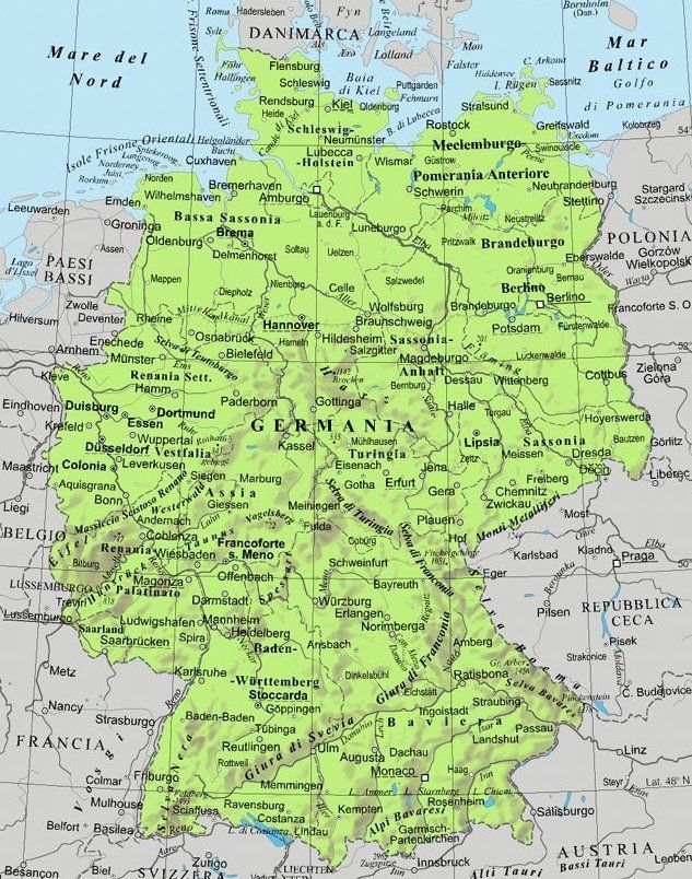 Cartina Nord Germania.Cartina Germania Germania Geografia Amburgo
