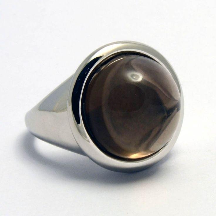 Anello in argento 925 Quarzo Fumè naturale del Madagascar
