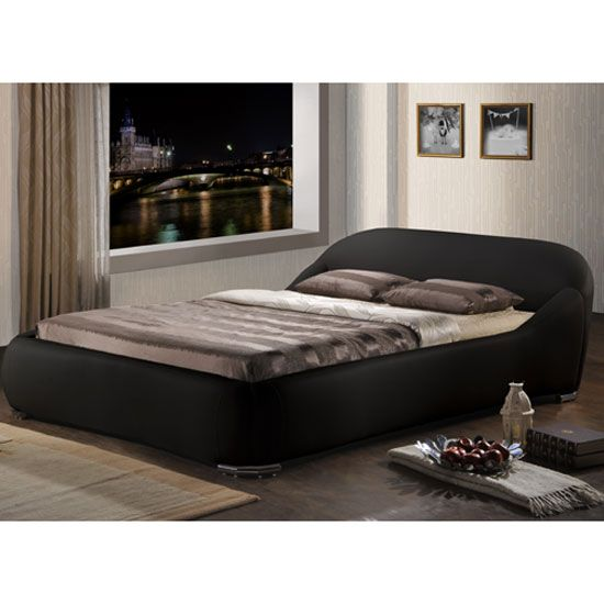 Manhattan Black Faux Leather Double Bed Upholstered Bed Frame Upholstered Beds Bed Frame