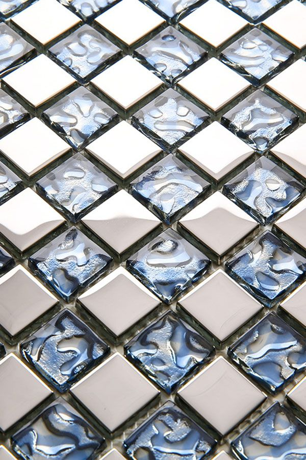 Stainless Steel And Blue Glass Mosaic Tile Glass Tile Mosaic Bathroom Tile Glass Mosaic Tiles
