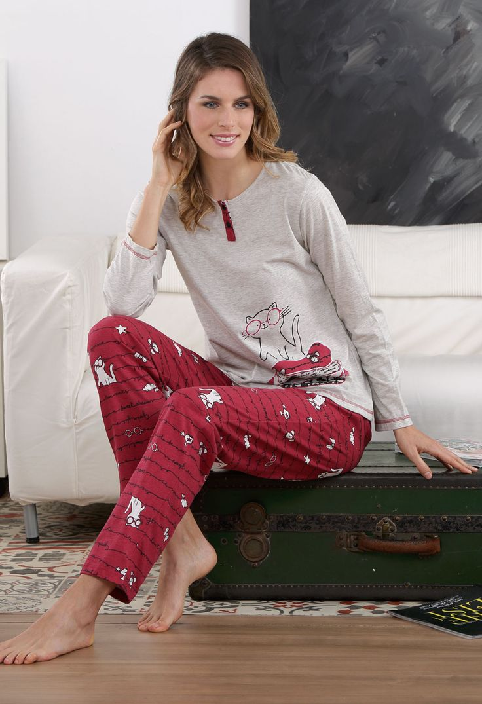 Perfumería El Ajuar - Ficha de producto - Pijama iniverno mujer Massana Gato - Homewear - Pijama invierno mujer